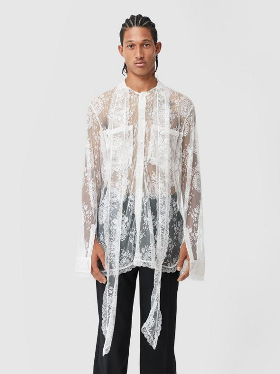 Chantilly Lace Oversized Tie-neck Shirt in Optic White