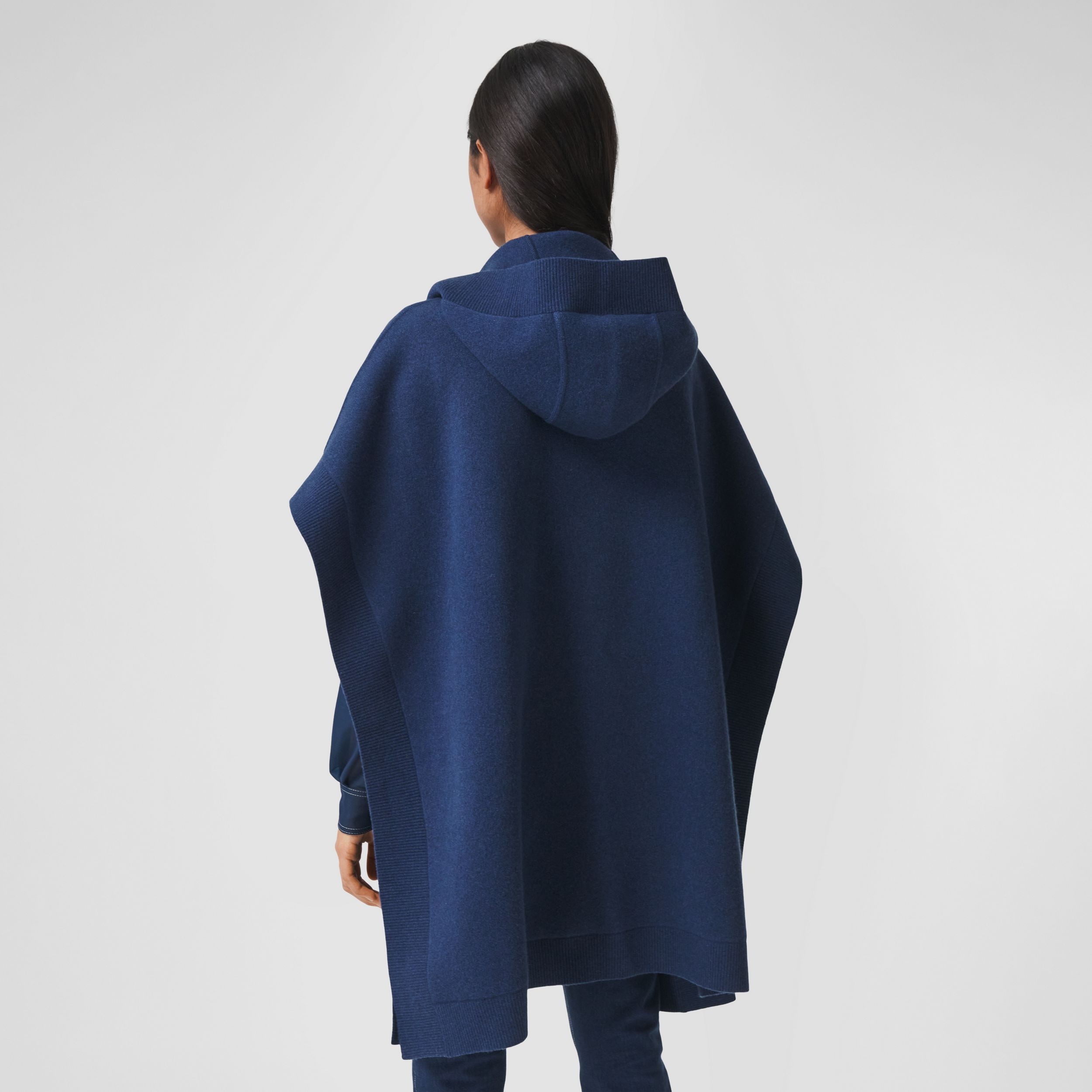 Monogram Motif Cashmere Blend Hooded Cape in Ink Blue - Women | Burberry United States - 3
