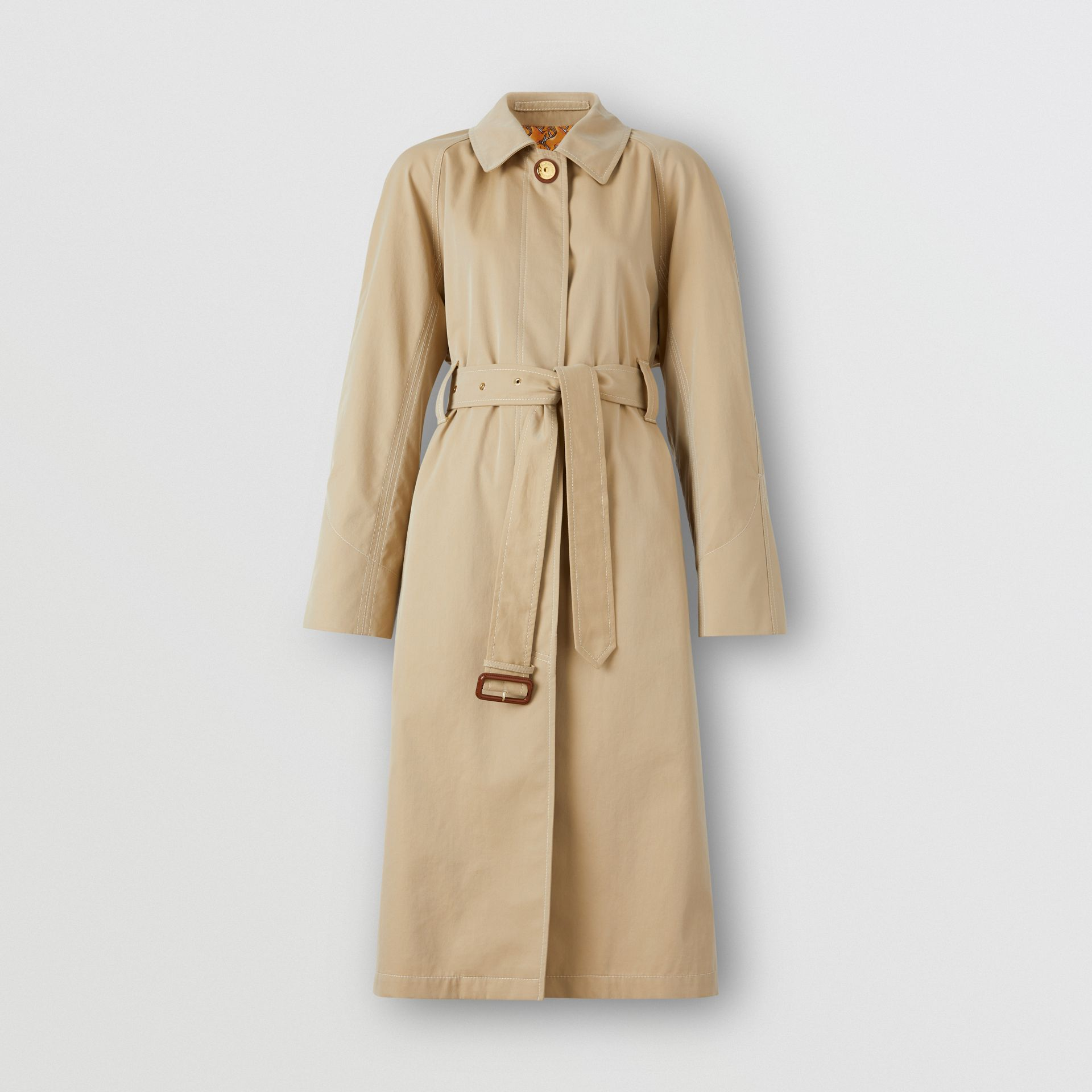 Tropical Gabardine Belted Car Coat in Honey | Burberry - gallery image 3