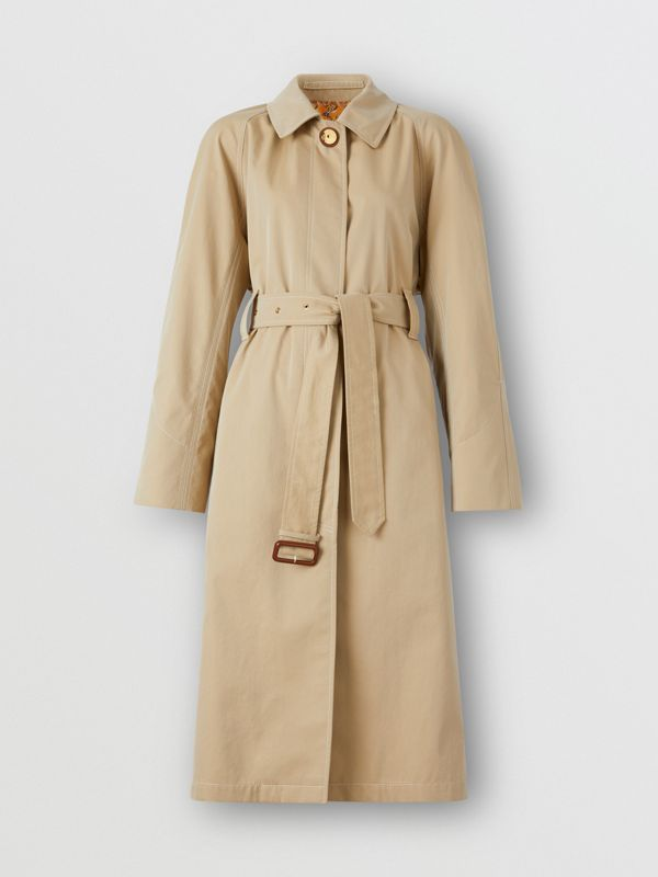 Tropical Gabardine Belted Car Coat in Honey | Burberry - cell image 3