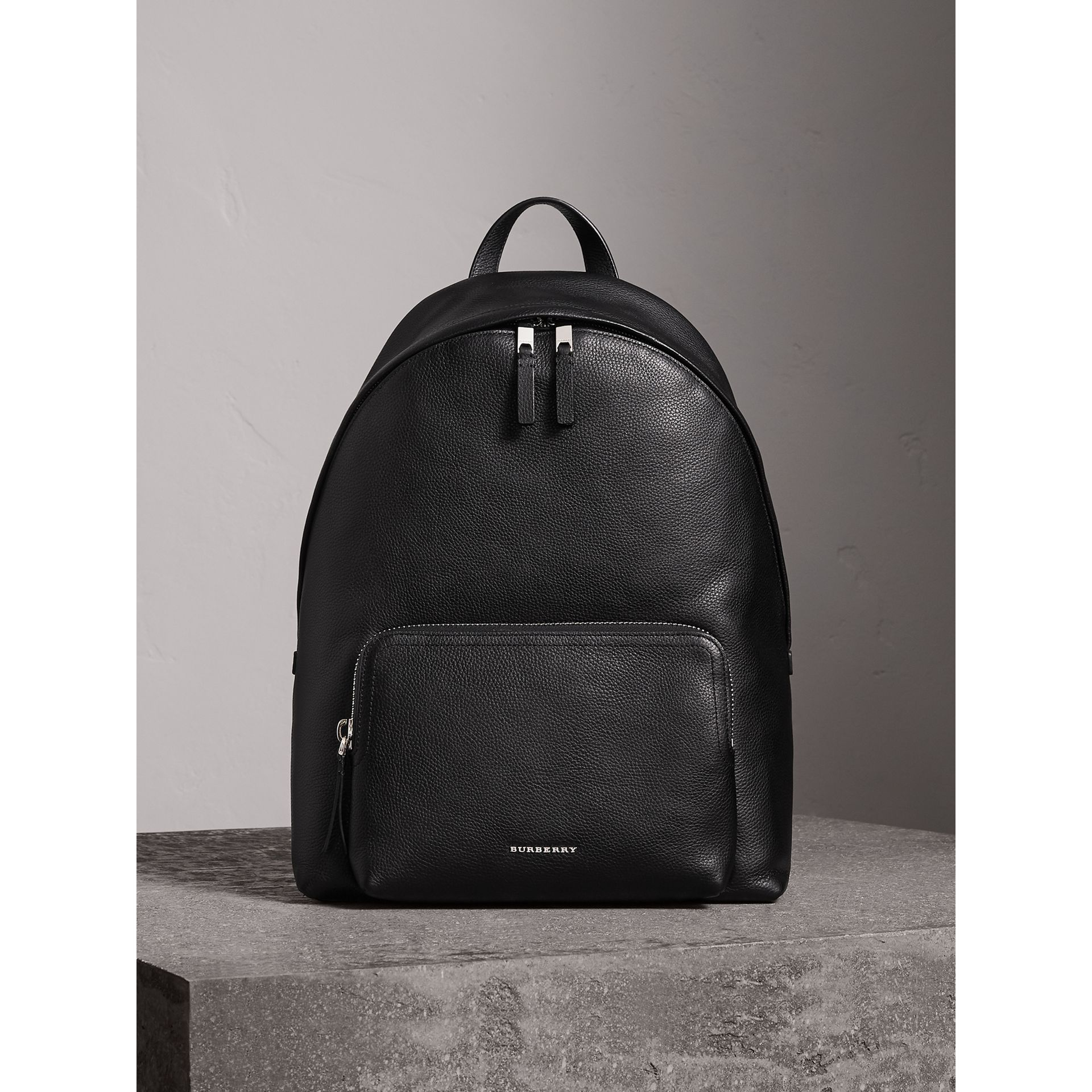 Grainy Leather Backpack in Black - Men | Burberry - gallery image 0