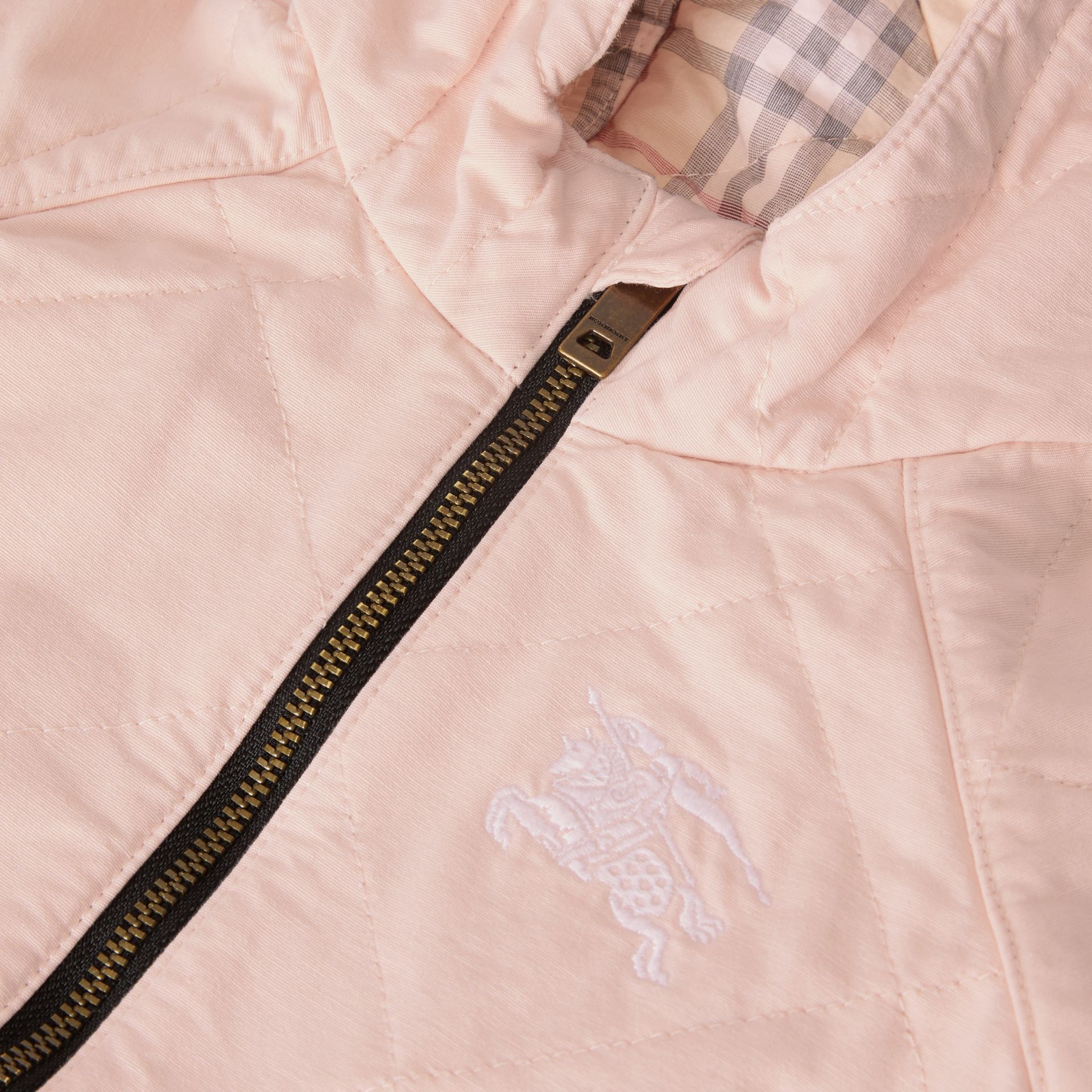 Diamond Quilted Cotton All-in-One in Dusty Pink - Children | Burberry - gallery image 1