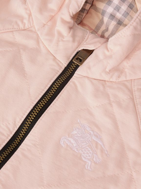 Diamond Quilted Cotton All-in-One in Dusty Pink - Children | Burberry - cell image 1