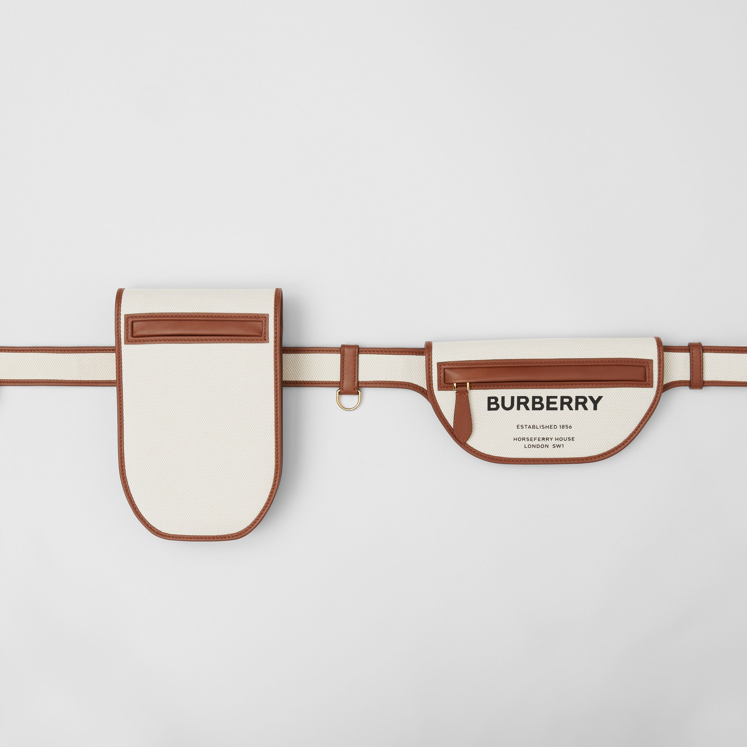 Horseferry Print Canvas and Leather Olympia Belt Bag in Natural/tan - Women | Burberry United Kingdom - 3