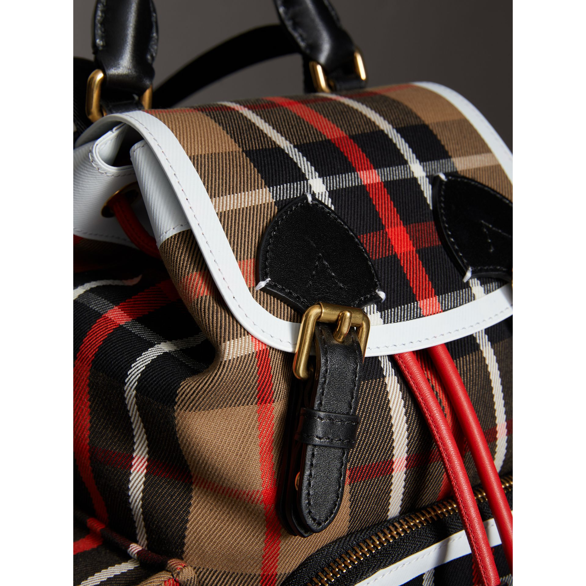 The Small Rucksack in Check Cotton and Leather in Caramel - Women | Burberry - gallery image 1