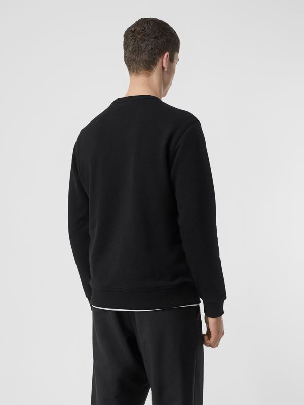 Horseferry Print Cotton Sweatshirt in Black - Men | Burberry - cell image 2