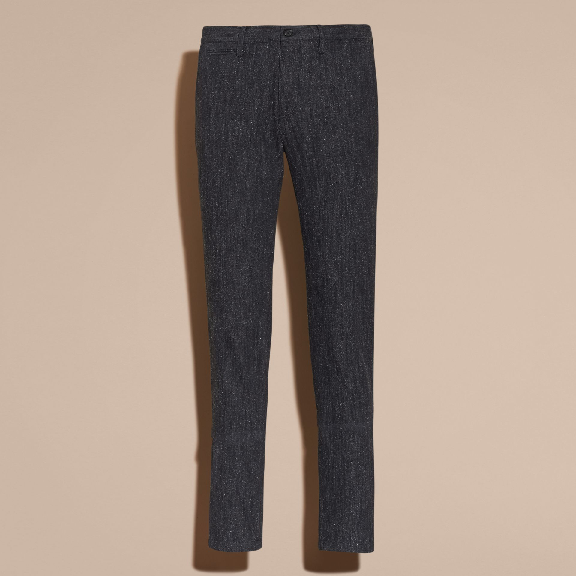 Charcoal blue Slim Fit Cotton Silk Donegal Tweed Chinos - gallery image 4