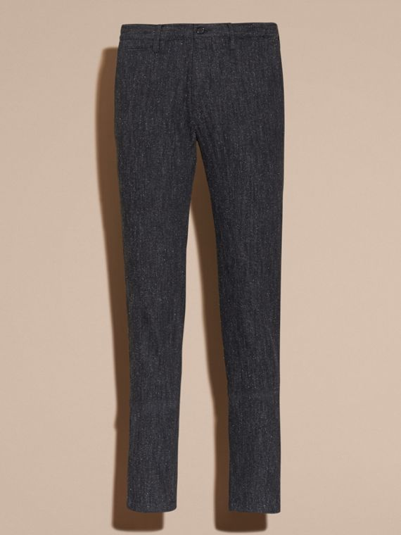 Charcoal blue Slim Fit Cotton Silk Donegal Tweed Chinos - cell image 3