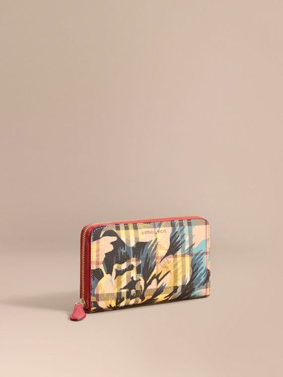 Peony Rose Print Haymarket Check and Leather Ziparound Wallet Plum Pink/pewter Blue