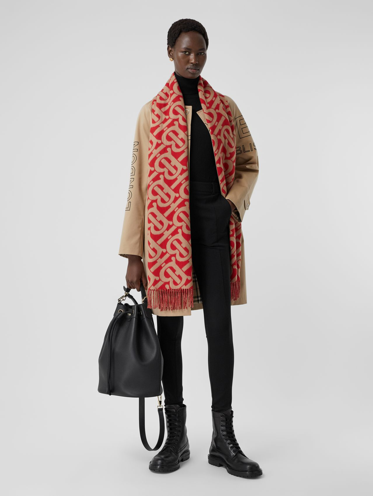 Monogram Cashmere Jacquard Scarf in Bright Red/camel