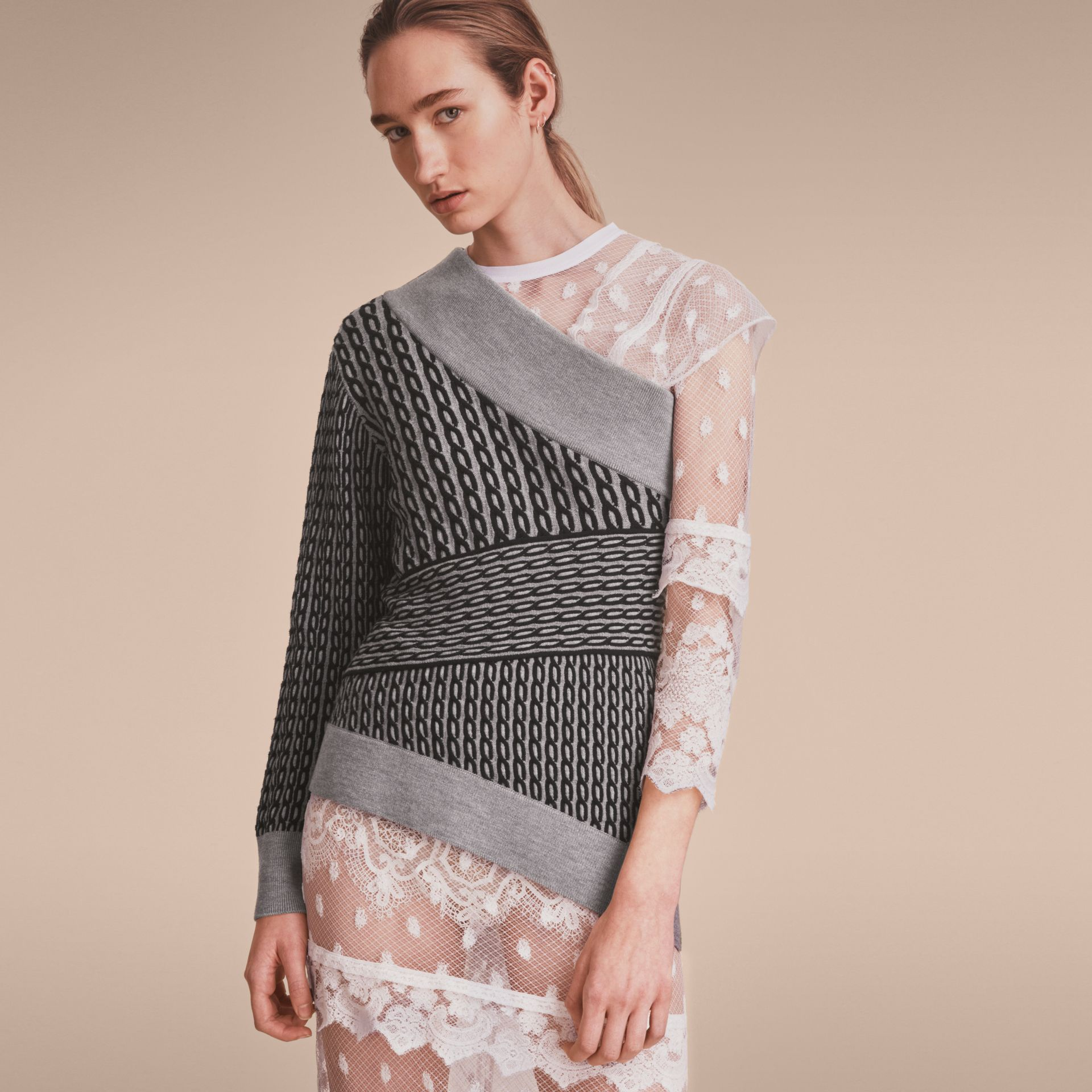 Cable Knit Wool Blend One-shoulder Sweater in Grey Melange/black - Women | Burberry - gallery image 6
