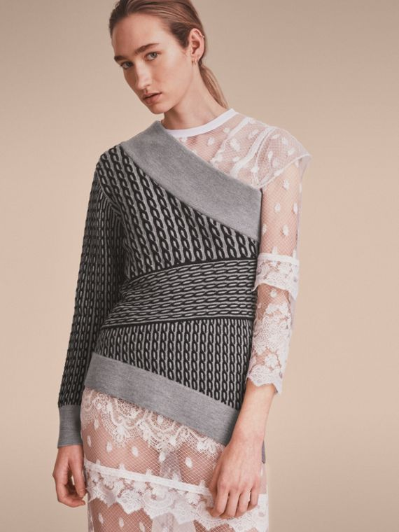 Cable Knit Wool Blend One-shoulder Sweater