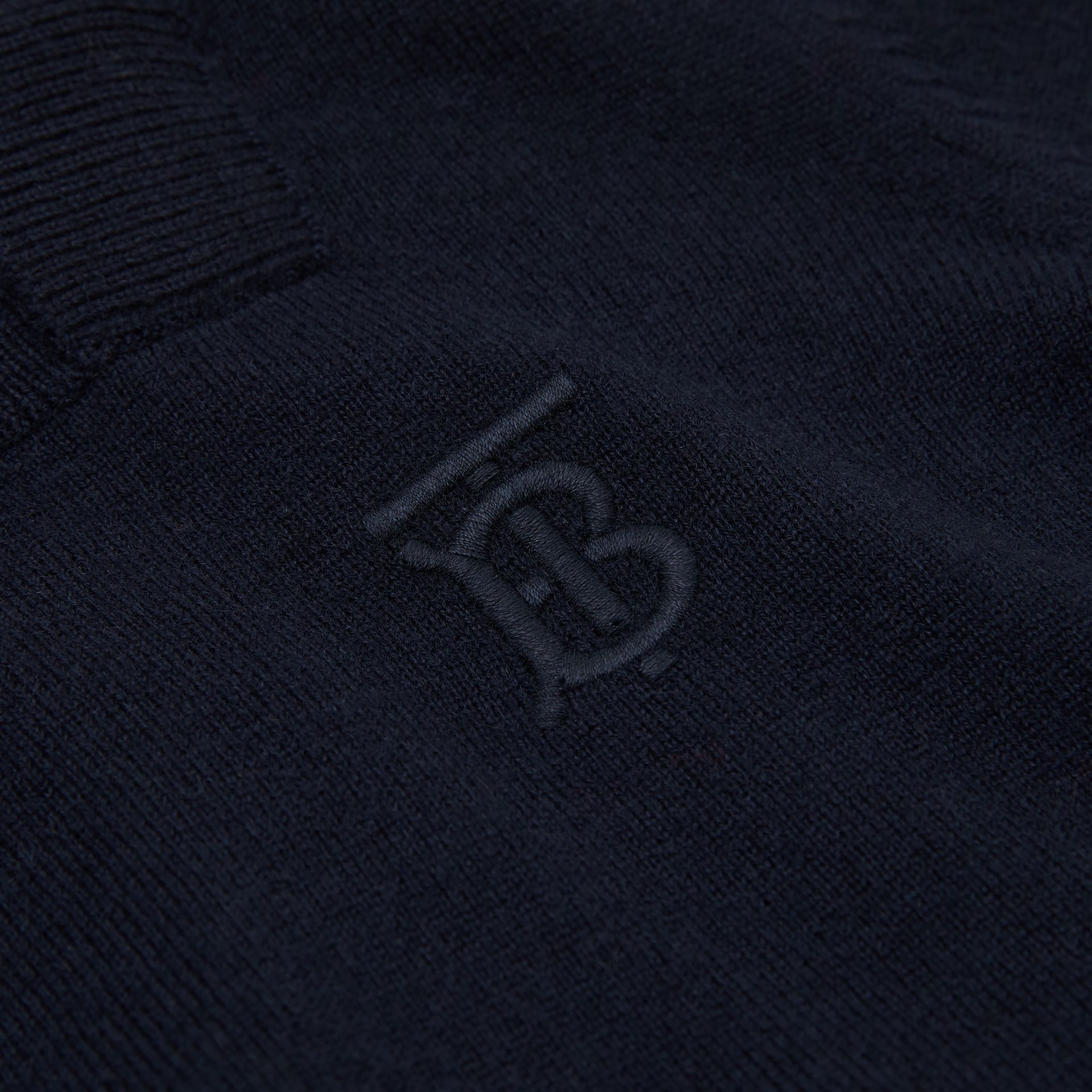 Monogram Motif Cashmere Sweater in Navy | Burberry United Kingdom - gallery image 1