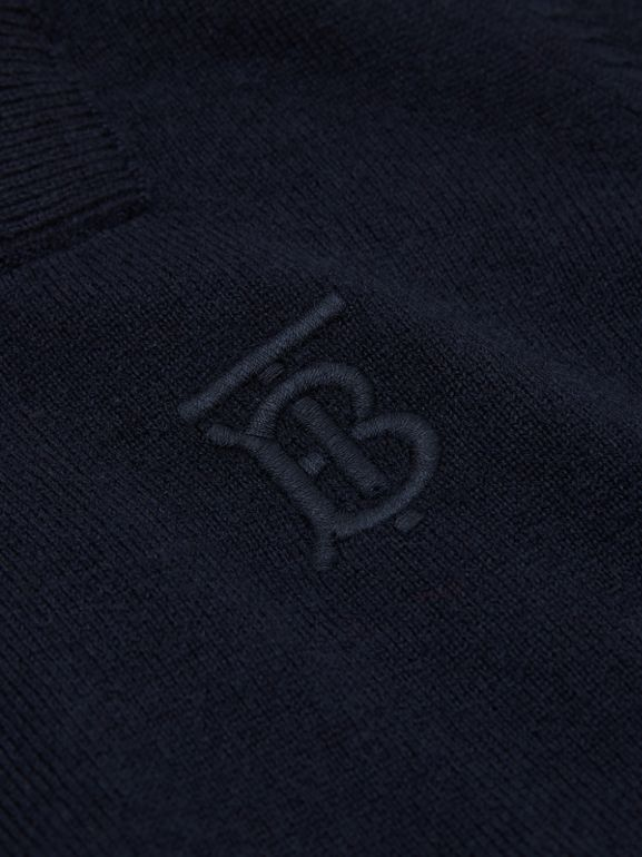 Monogram Motif Cashmere Sweater in Navy | Burberry - cell image 1
