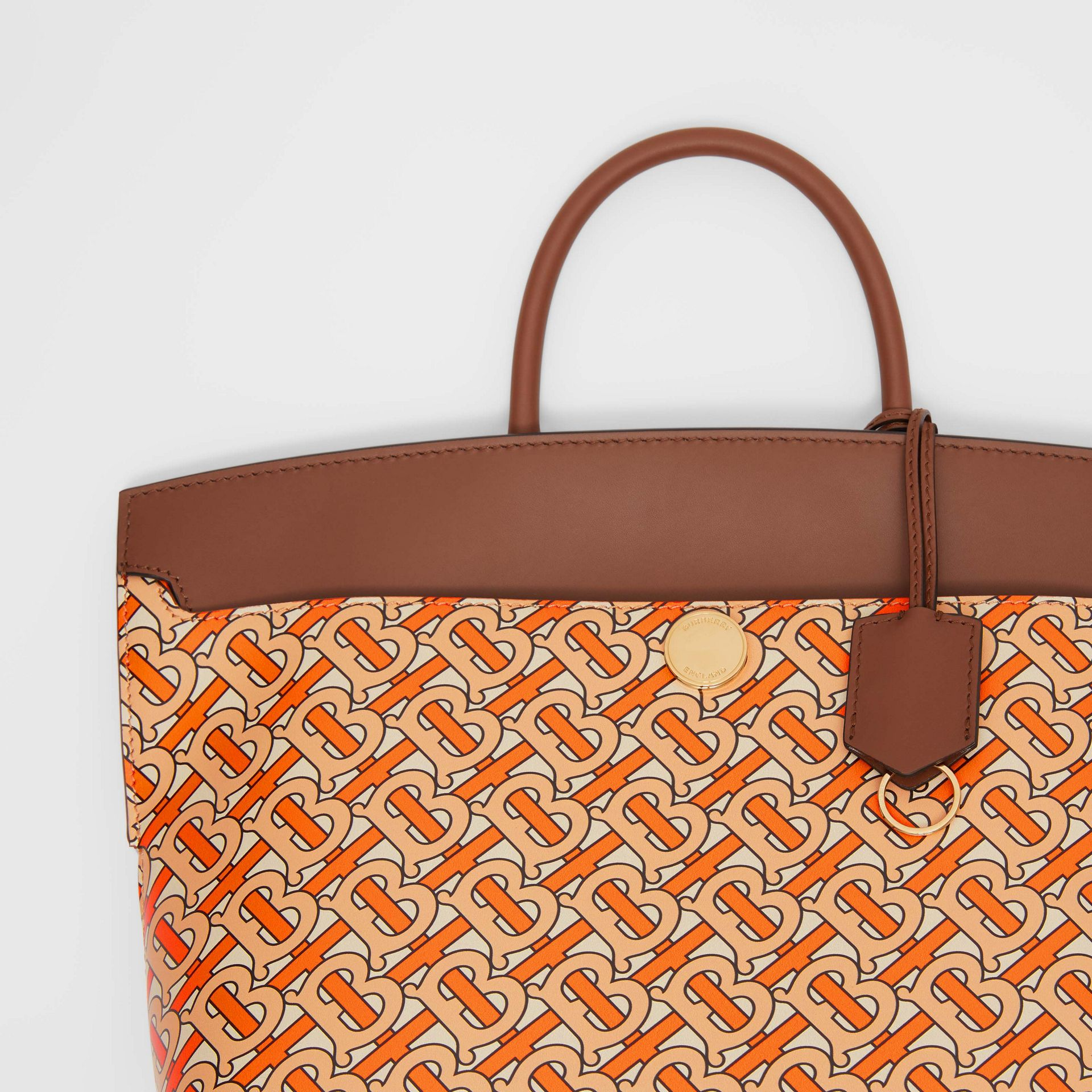 Small Monogram Print Leather Society Top Handle Bag in Bright Orange - Women | Burberry - gallery image 1