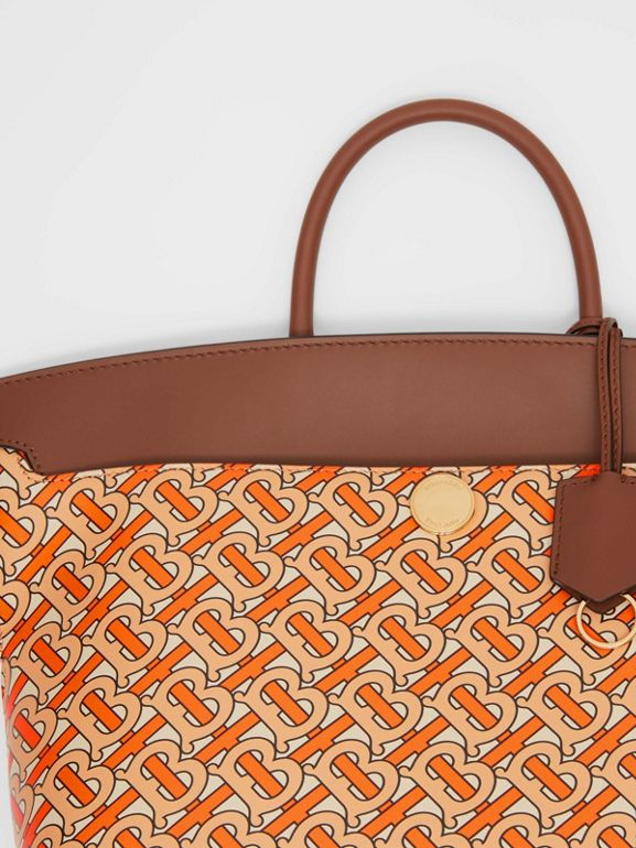 Small Monogram Print Leather Society Top Handle Bag in Bright Orange - Women | Burberry - cell image 1