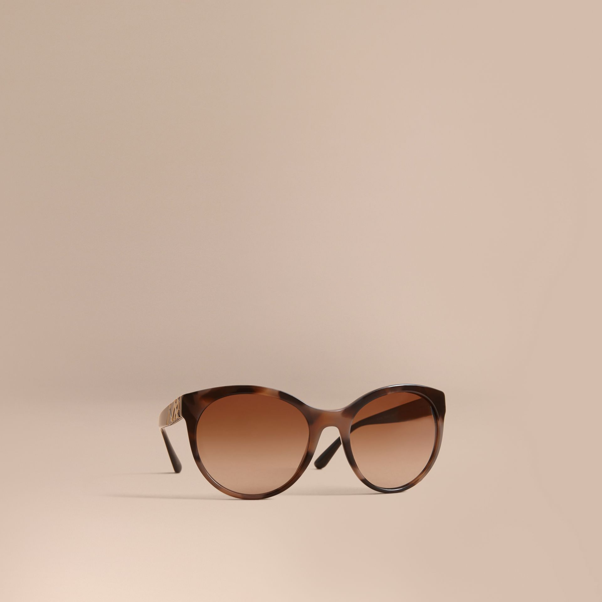 Check Detail Round Frame Sunglasses in Amber - Women | Burberry Singapore - gallery image 1