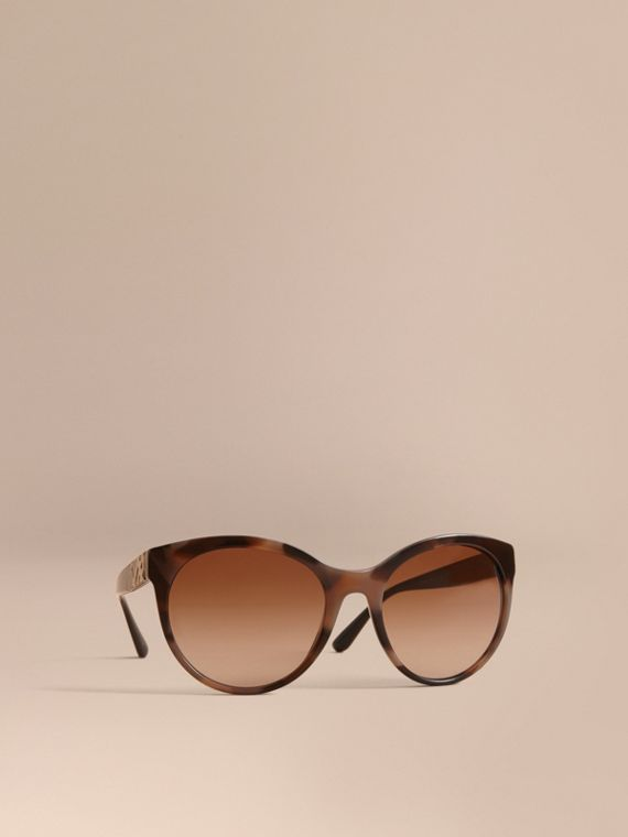 Check Detail Round Frame Sunglasses in Amber - Women | Burberry Canada