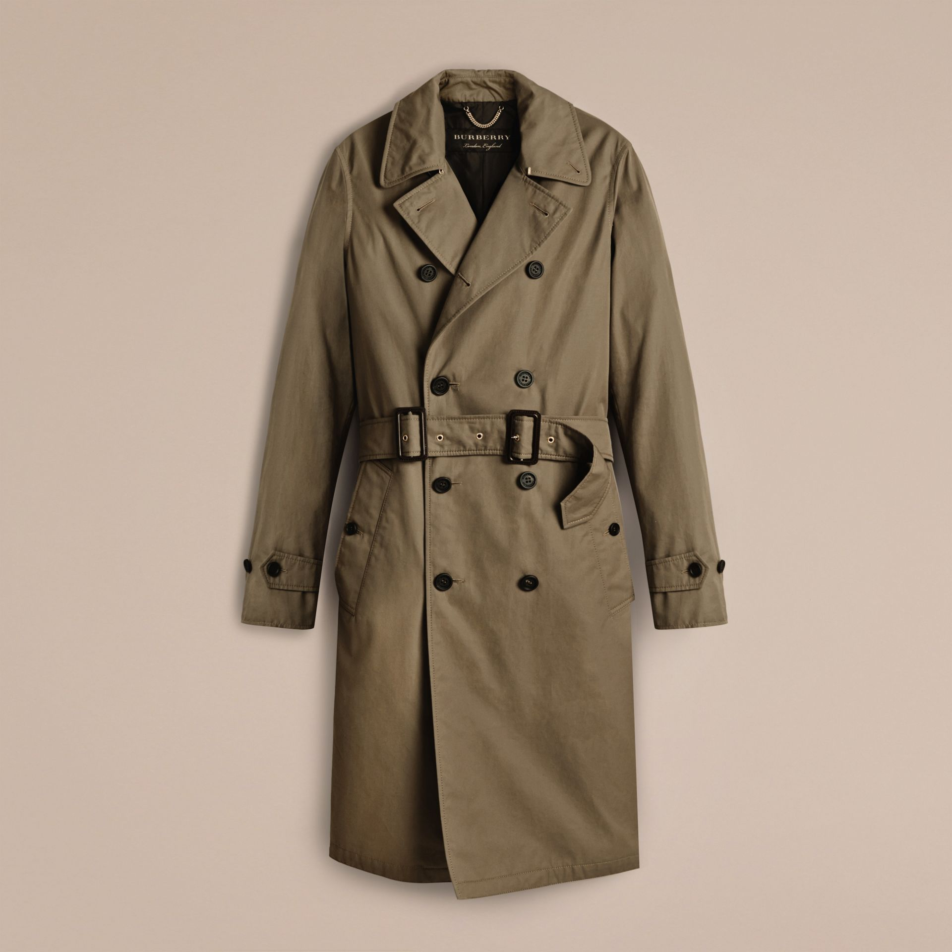 Military olive Cotton Gabardine Trench Coat - gallery image 3