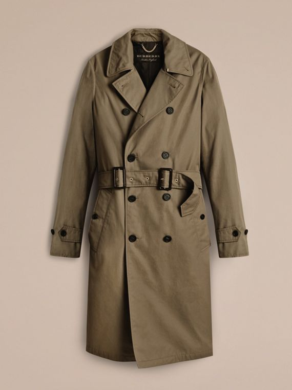 Military olive Cotton Gabardine Trench Coat - cell image 2
