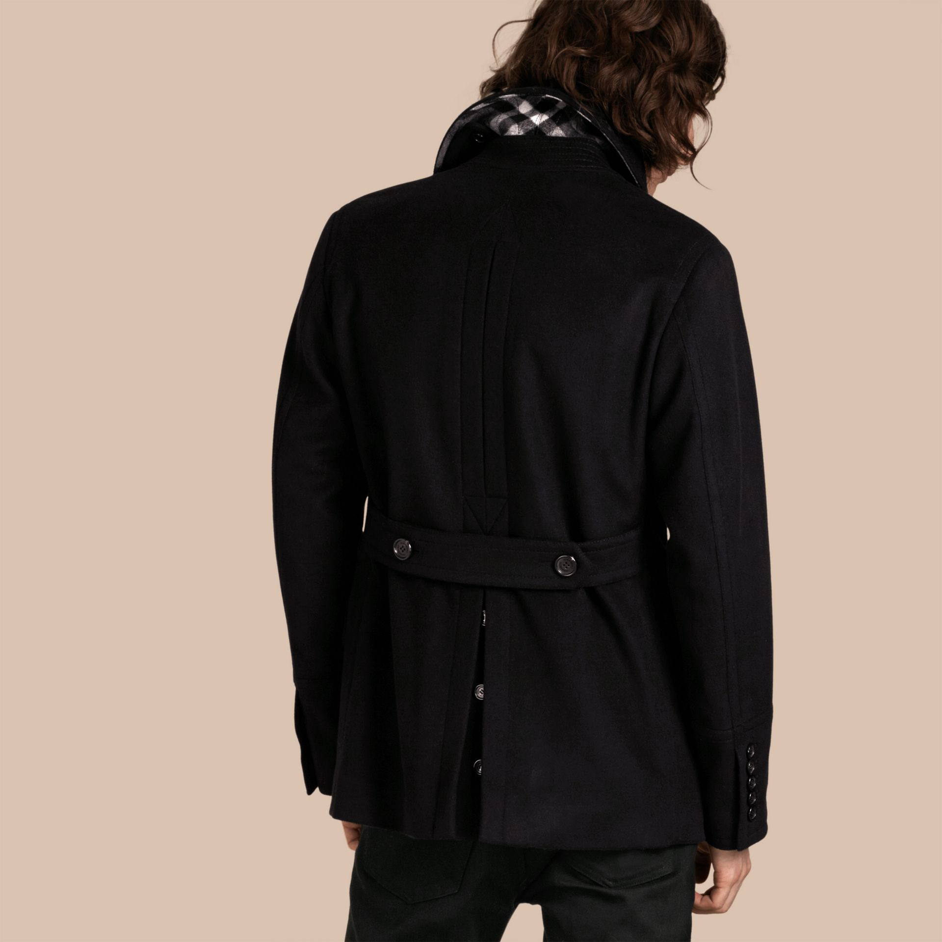 Wool Cashmere Pea Coat Black - gallery image 3