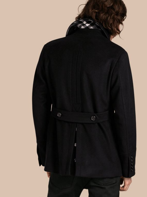 Wool Cashmere Pea Coat in Black - cell image 2