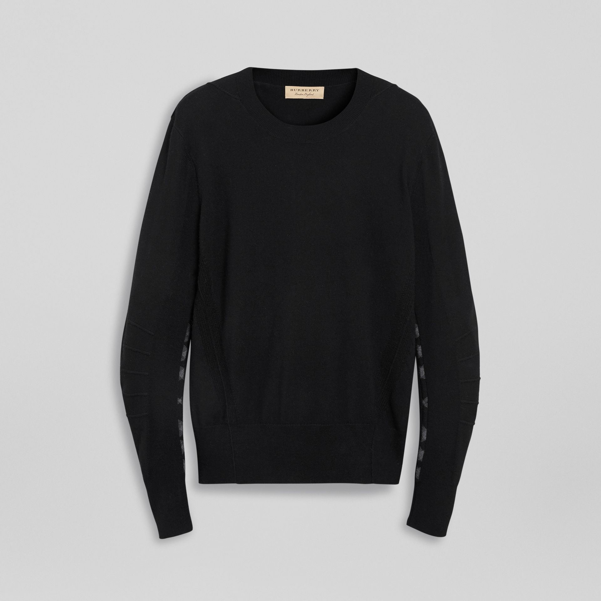 Check Detail Merino Wool Sweater in Black - Men | Burberry - gallery image 3