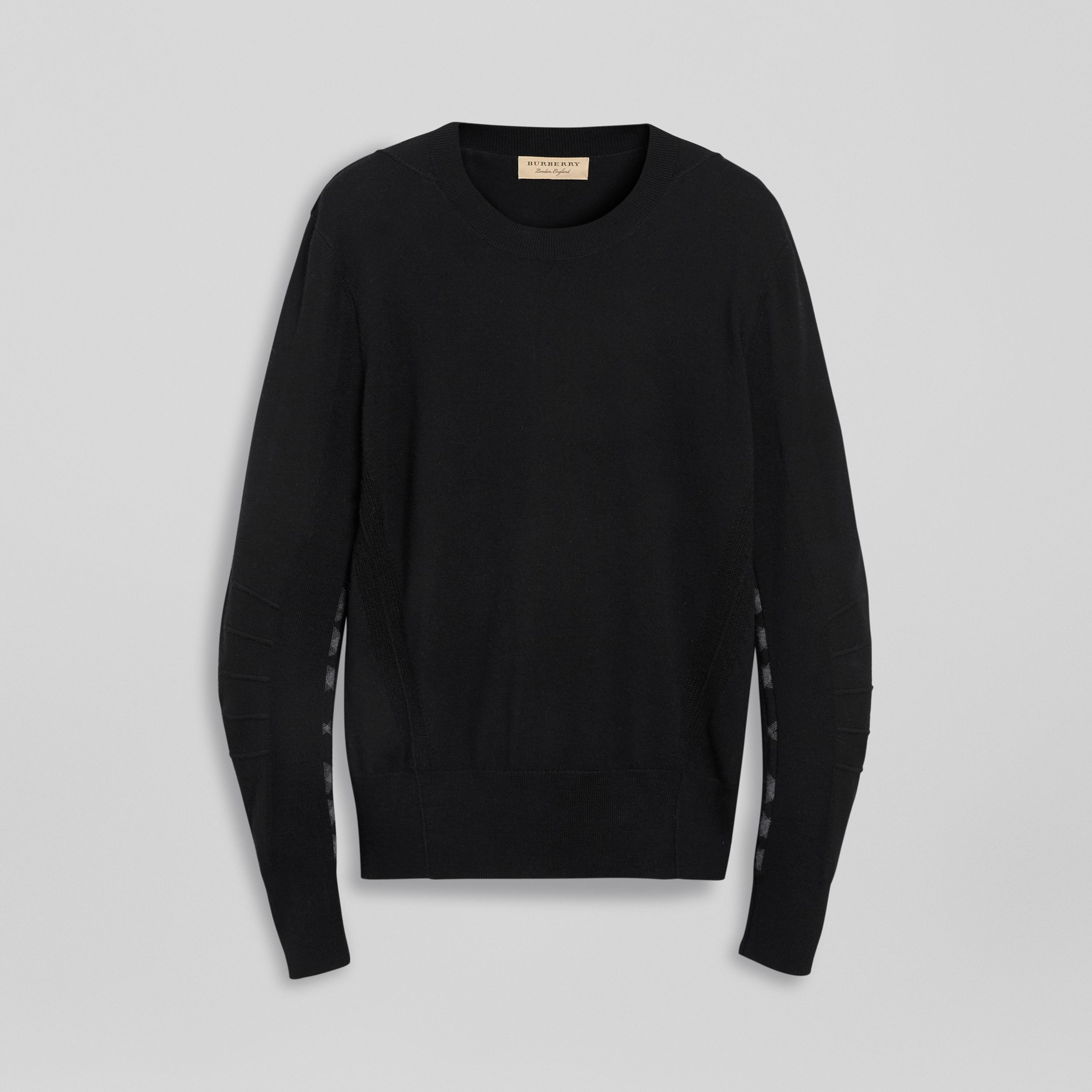 Check Detail Merino Wool Sweater in Black - Men | Burberry - 4