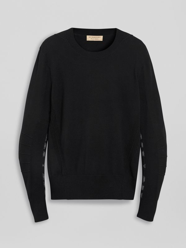 Check Detail Merino Wool Sweater in Black - Men | Burberry - cell image 3