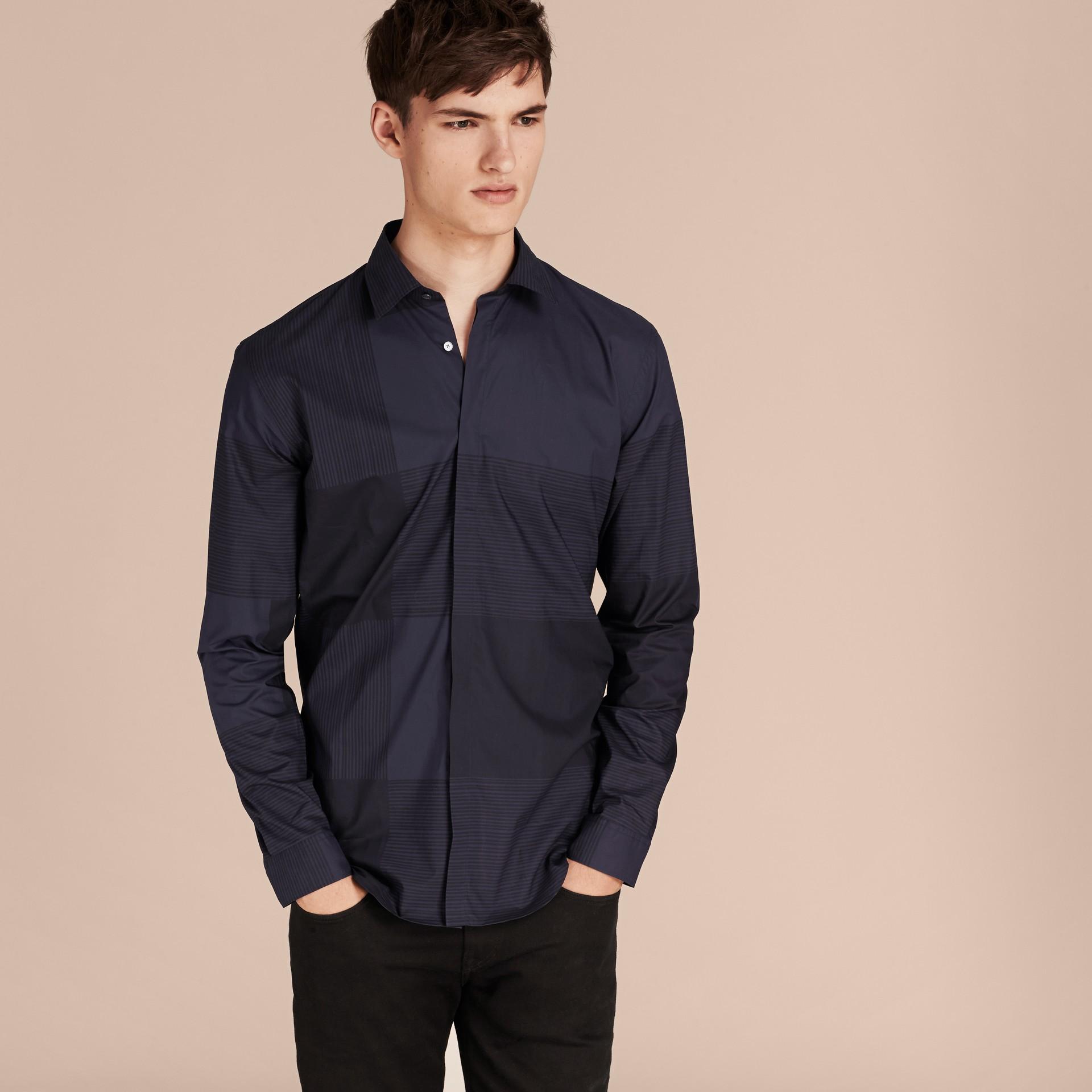 Azul marinho Camisa de algodão com estampa xadrez Azul Marinho - galeria de imagens 6