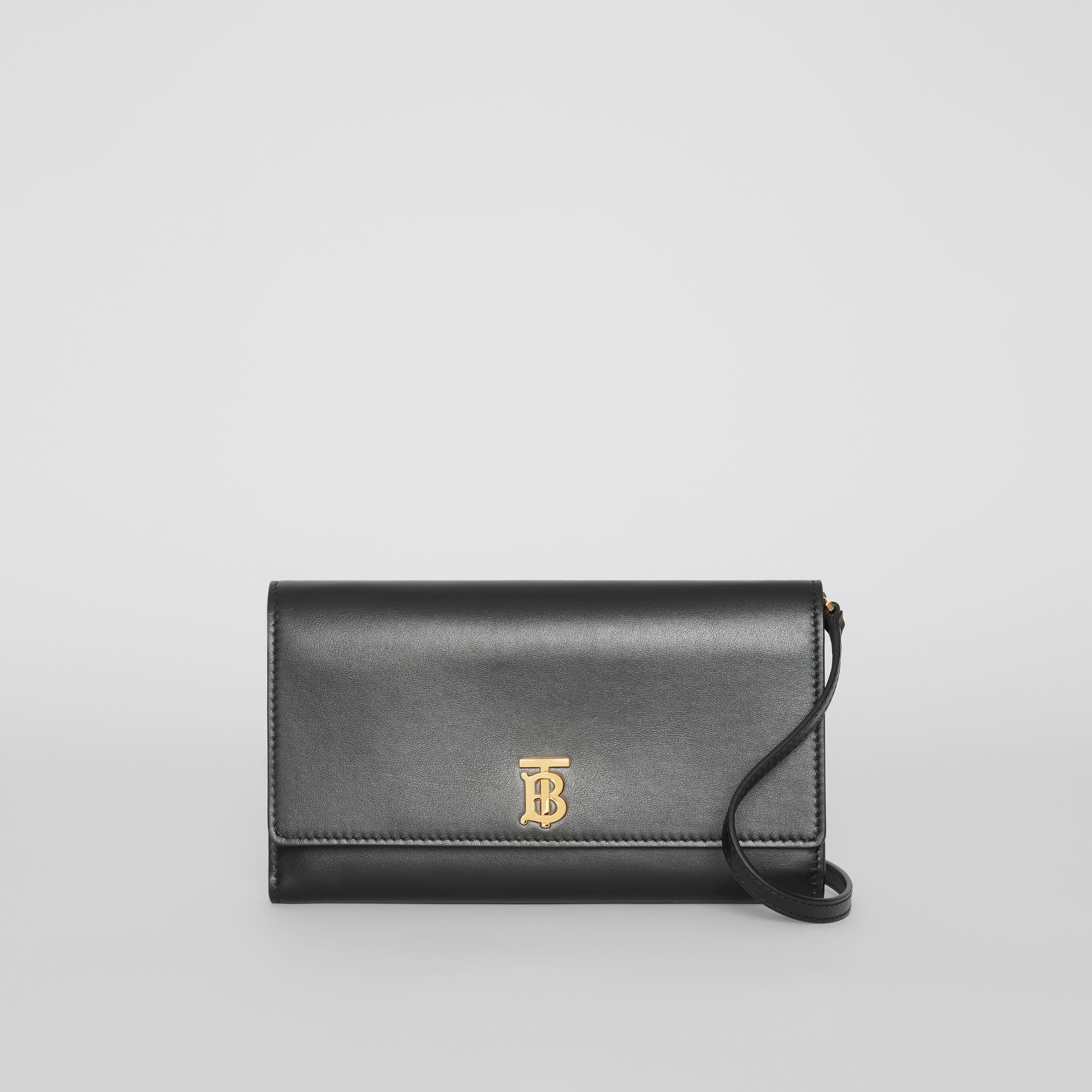 Monogram Motif Leather Wallet with Detachable Strap in Black - Women | Burberry Australia - gallery image 0