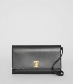 f86f0ea392b Monogram Motif Leather Wallet with Detachable Strap in Black