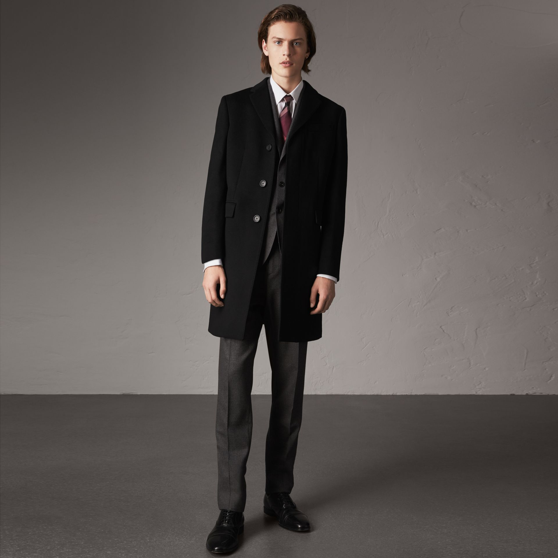 Wool Cashmere Tailored Coat in Black - Men | Burberry Canada - gallery image 0