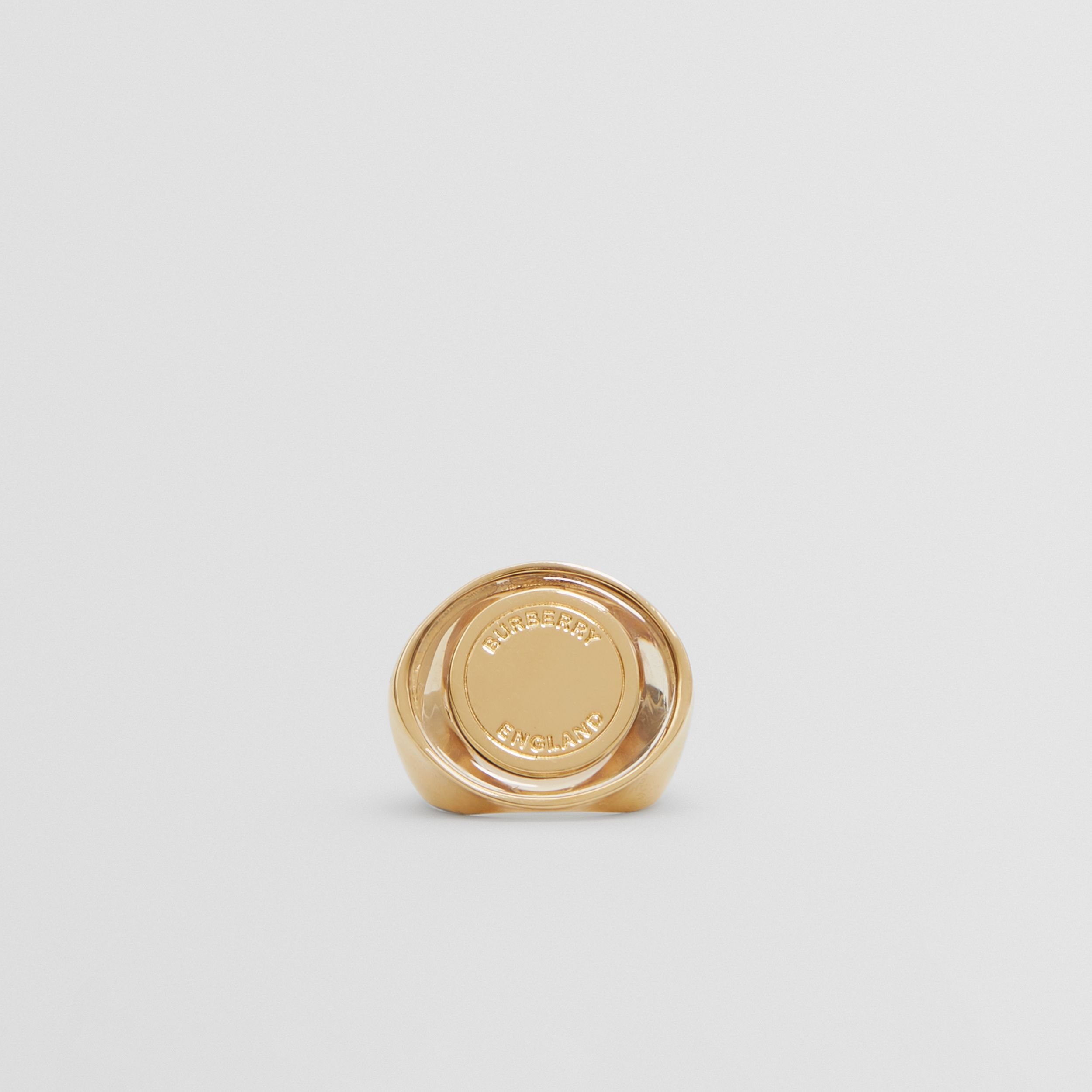 Resin and Gold-plated Signet Ring in Light - Women | Burberry - 1