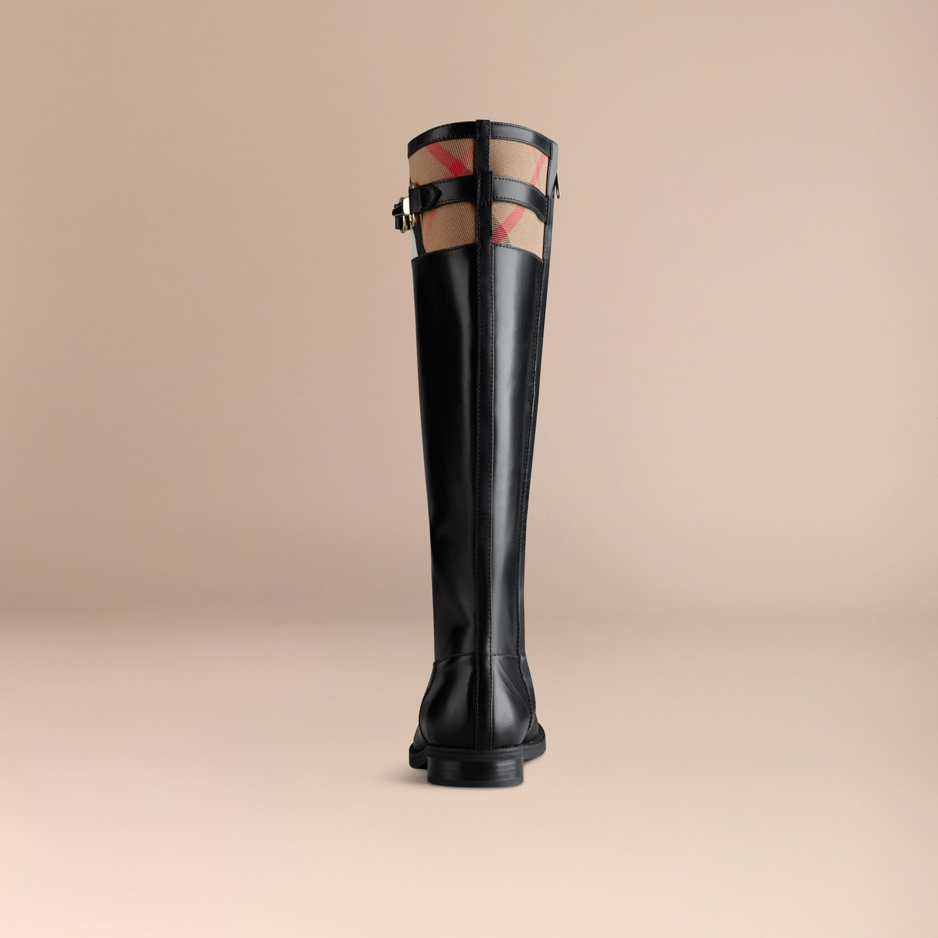 House Check Detail Riding Boots in Black - Women | Burberry - gallery image 4