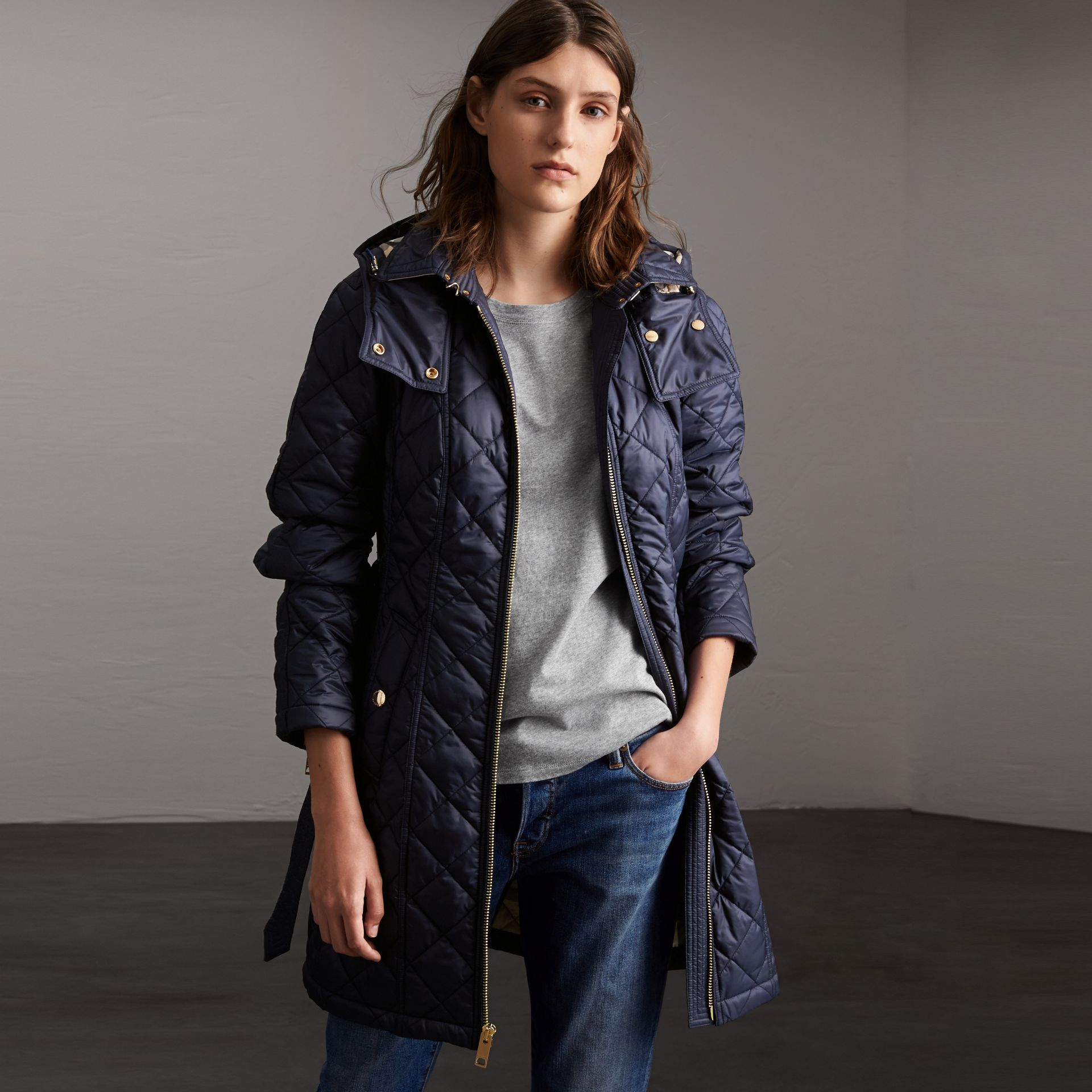 Detachable Hood Quilted Showerproof Parka in Ink - Women | Burberry - gallery image 0