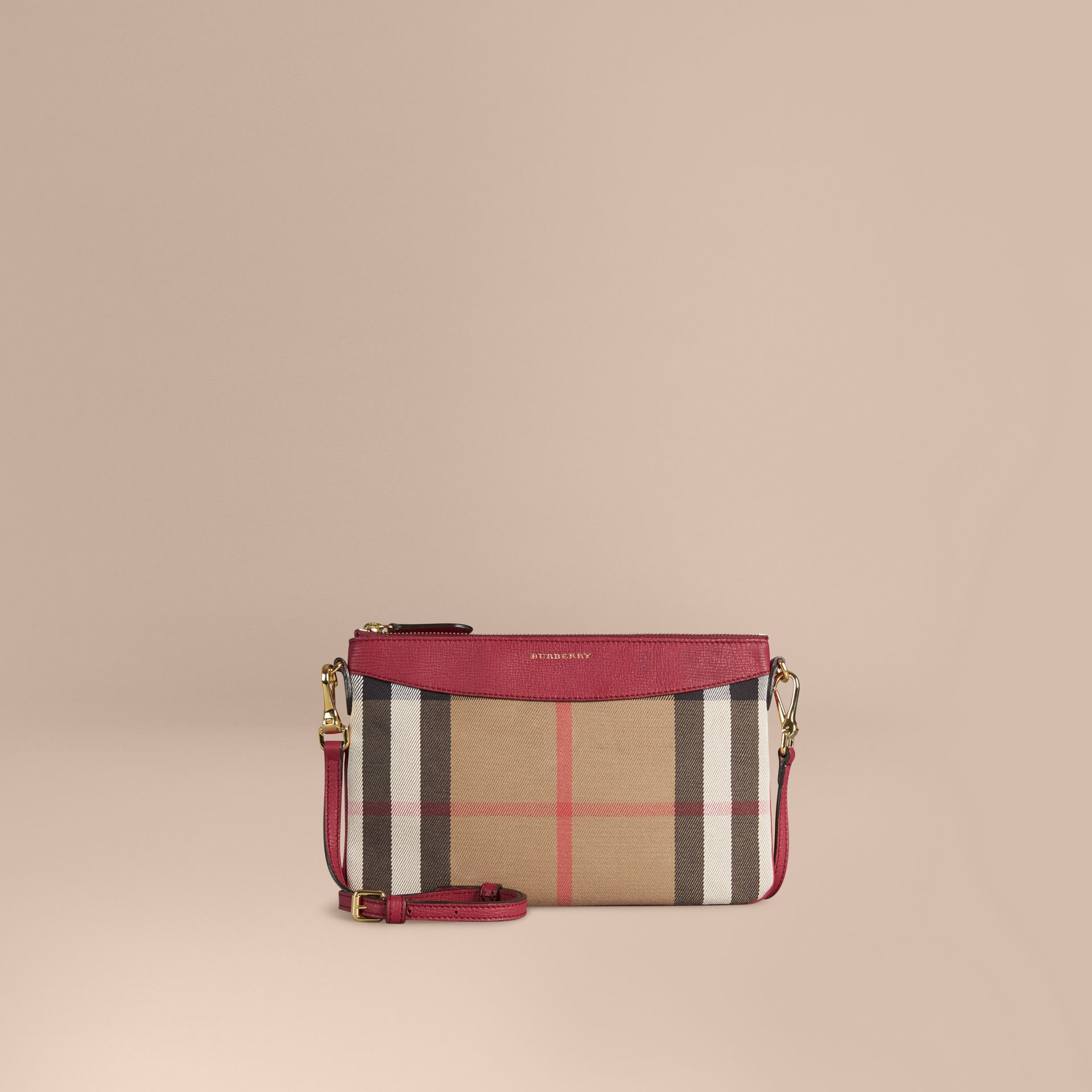 Clutch en coton House check et cuir (Rouge Militaire) - Femme | Burberry - photo de la galerie 1