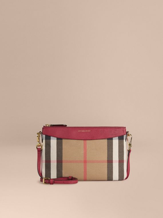House Check and Leather Clutch Bag in Military Red - Women | Burberry