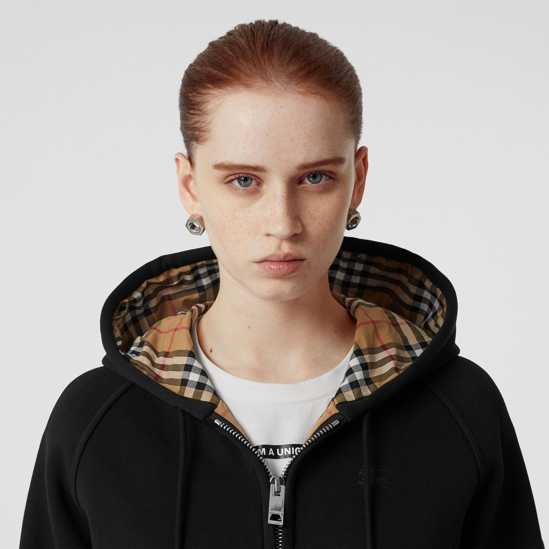 Vintage Check Detail Jersey Hooded Top in Black - Women | Burberry United States - gallery image 1