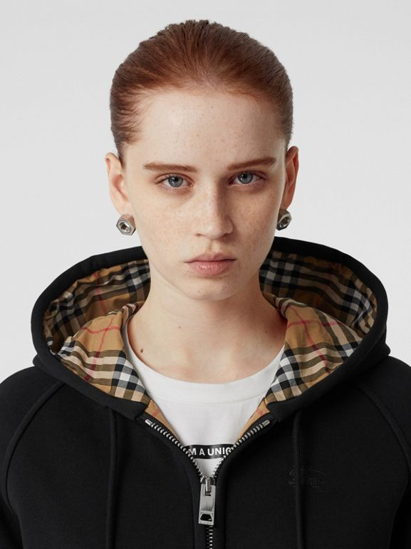 Vintage Check Detail Jersey Hooded Top in Black - Women | Burberry United Kingdom - cell image 1