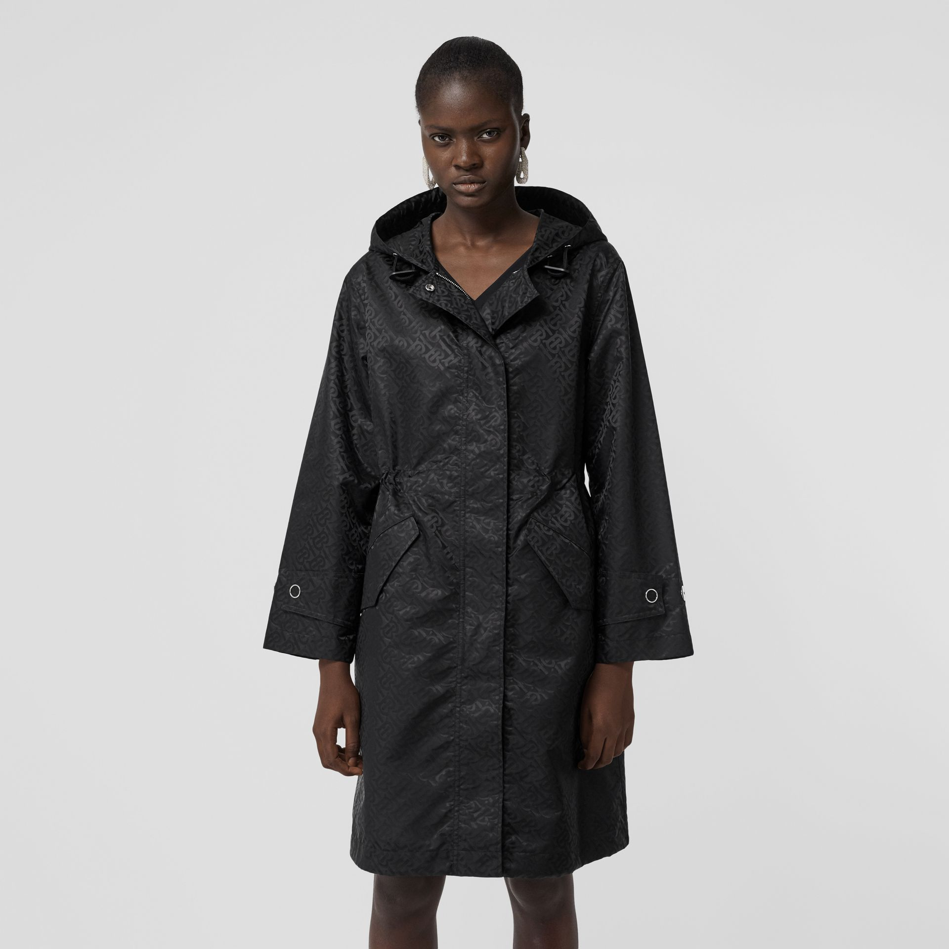 Monogram ECONYL® Jacquard Hooded Parka in Black - Women | Burberry Canada - gallery image 5