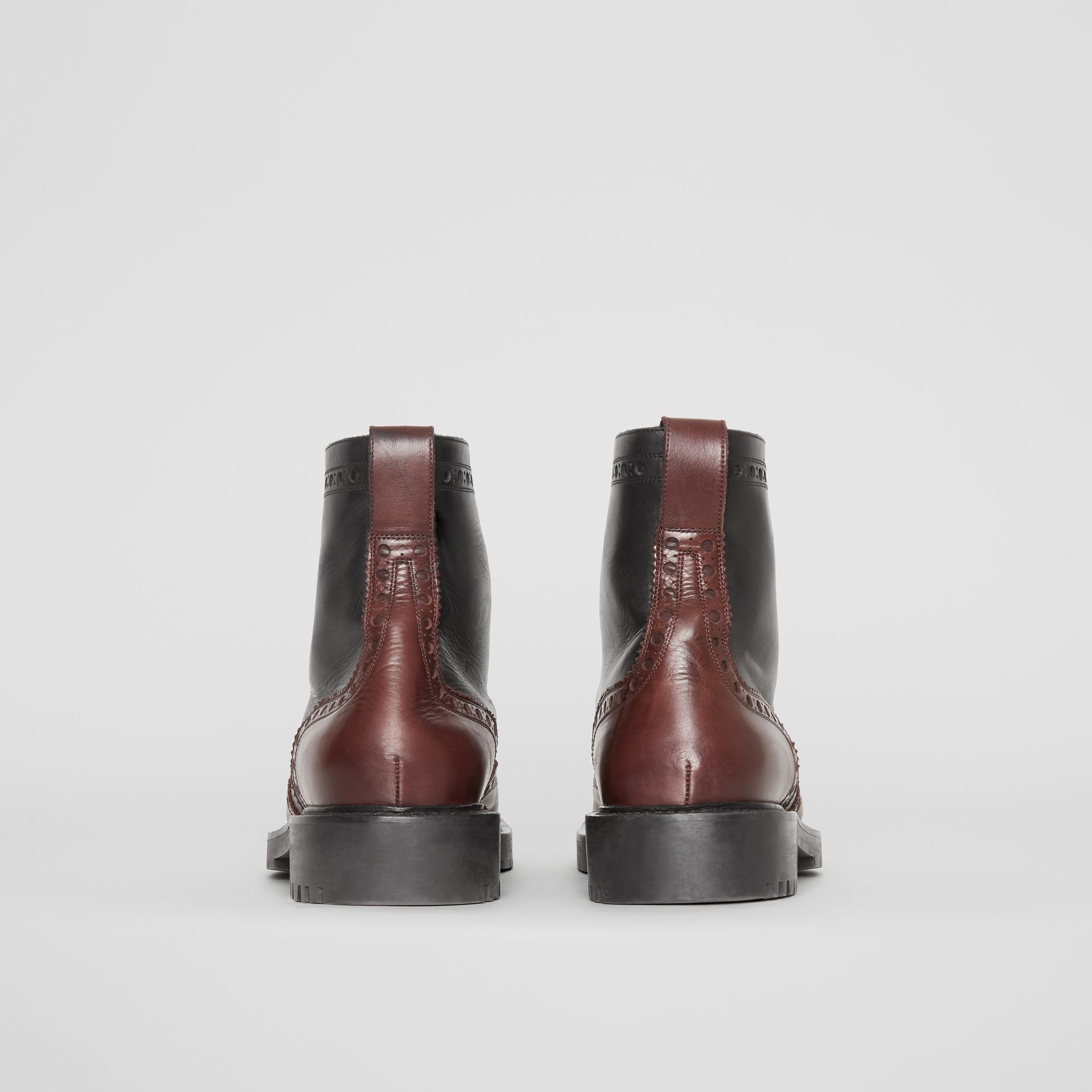 Brogue Detail Leather Boots in Black/garnet - Men | Burberry United Kingdom - gallery image 4