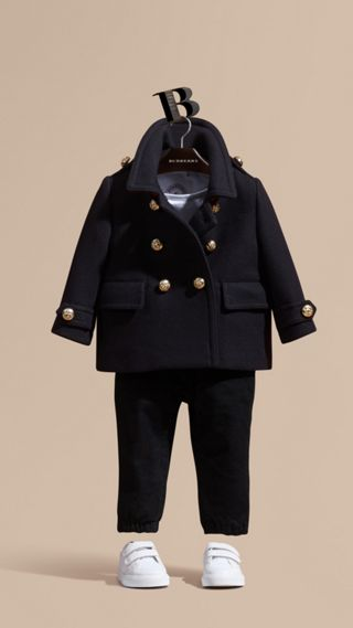 Wool Cashmere Blend Pleat Detail Military Pea Coat
