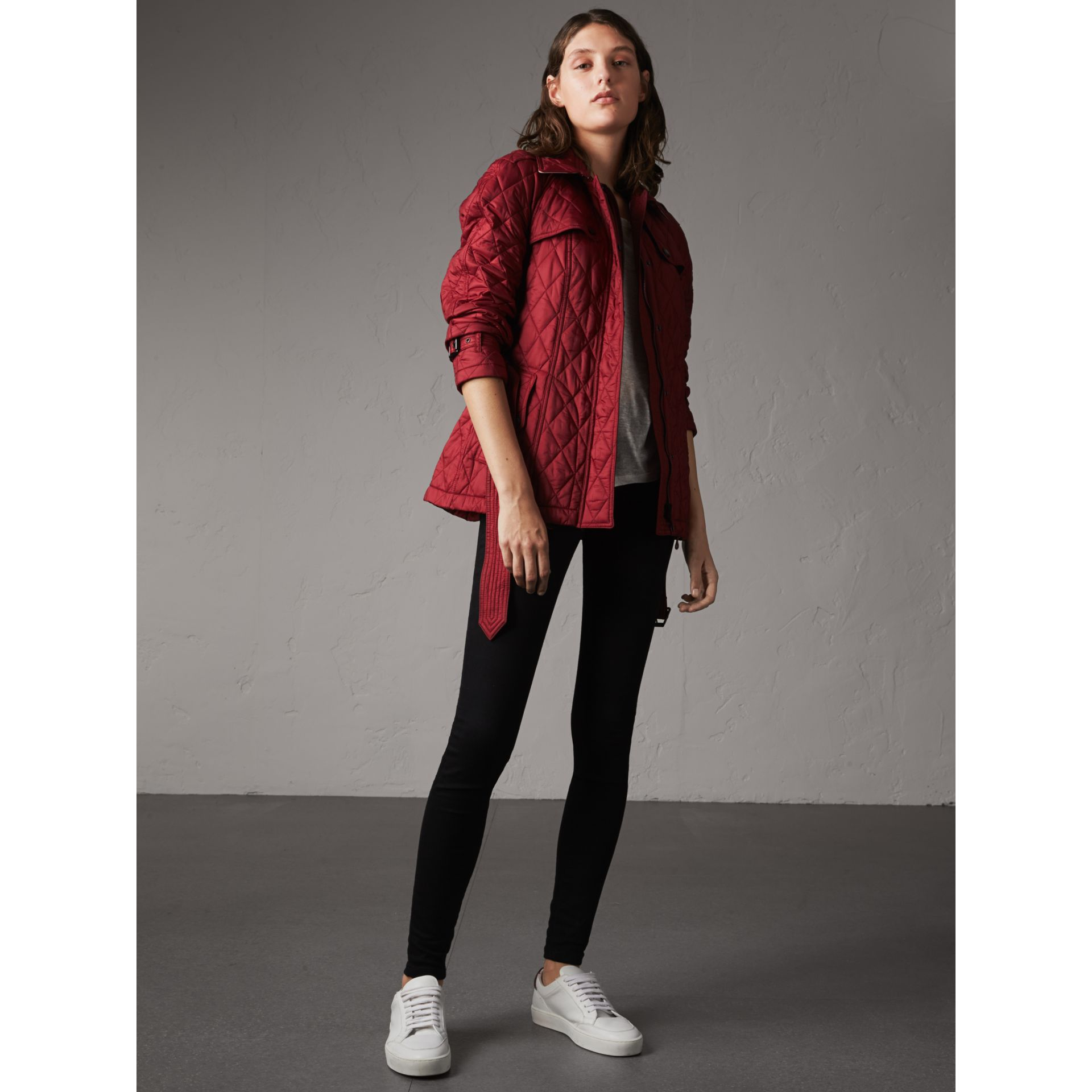 Quilted Trench Jacket with Detachable Hood in Dark Crimson - gallery image 6