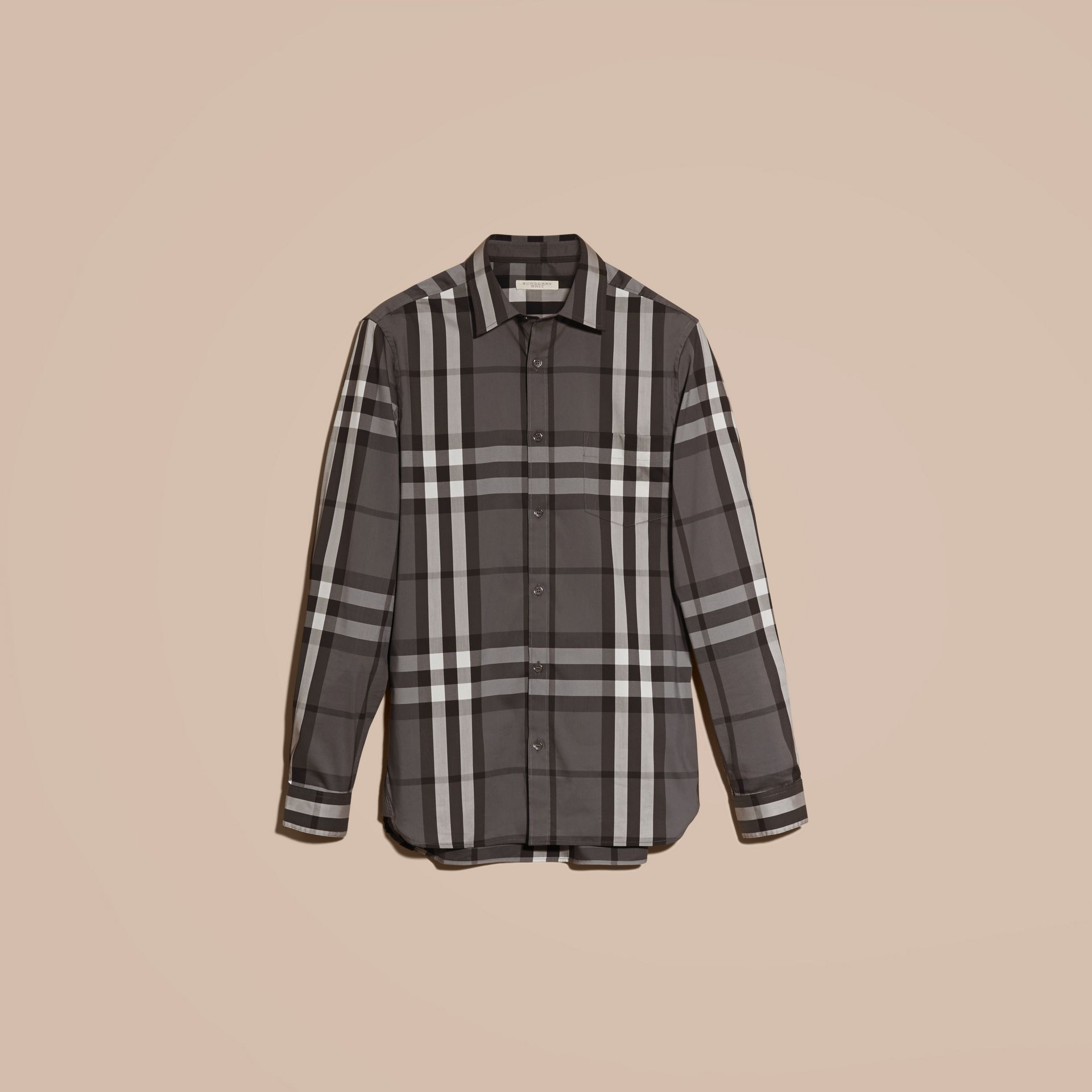 Check Stretch Cotton Shirt in Charcoal - Men | Burberry Australia - gallery image 4