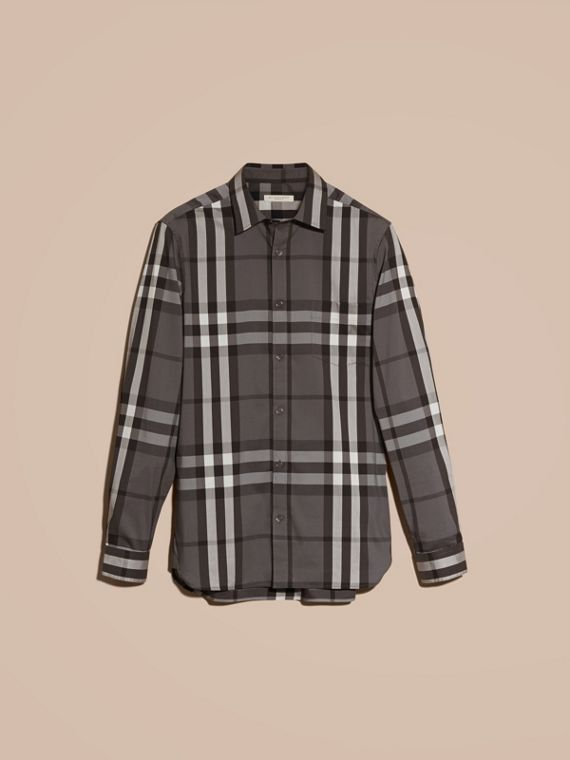 Charcoal Check Stretch Cotton Shirt Charcoal - cell image 3