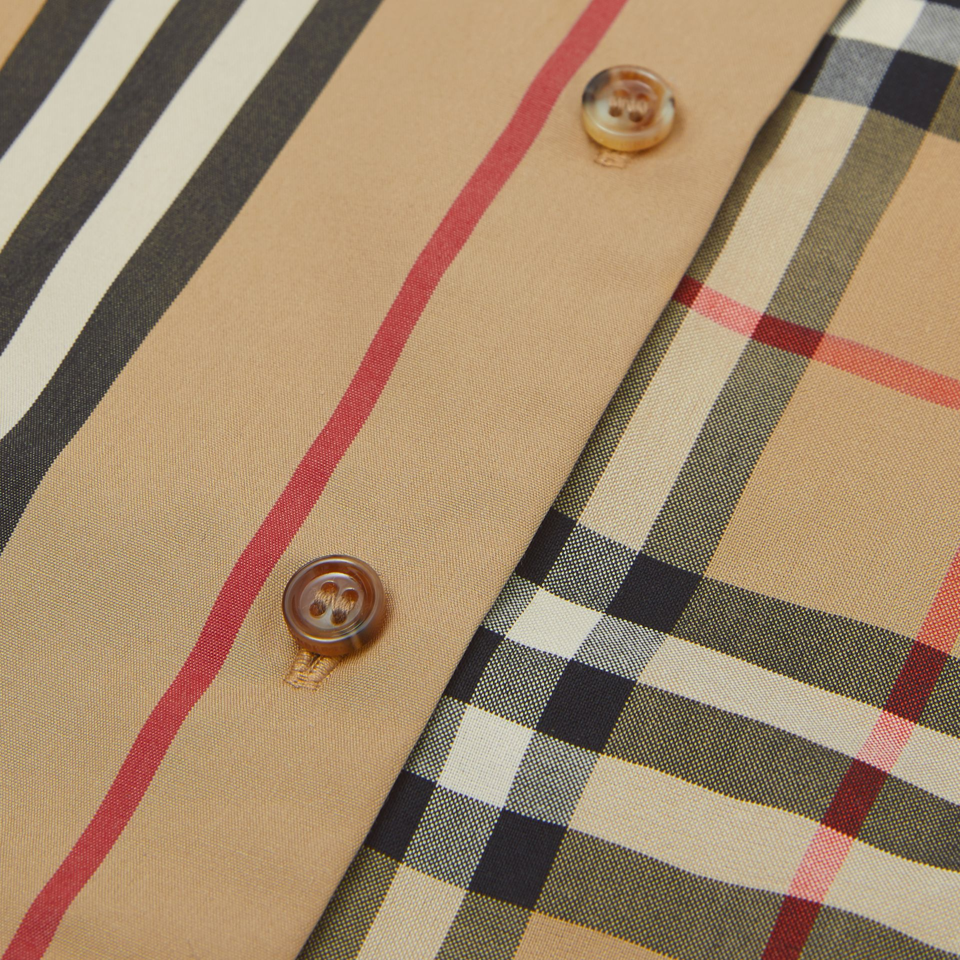 Vintage Check and Icon Stripe Cotton Playsuit in Archive Beige - Children | Burberry - gallery image 1