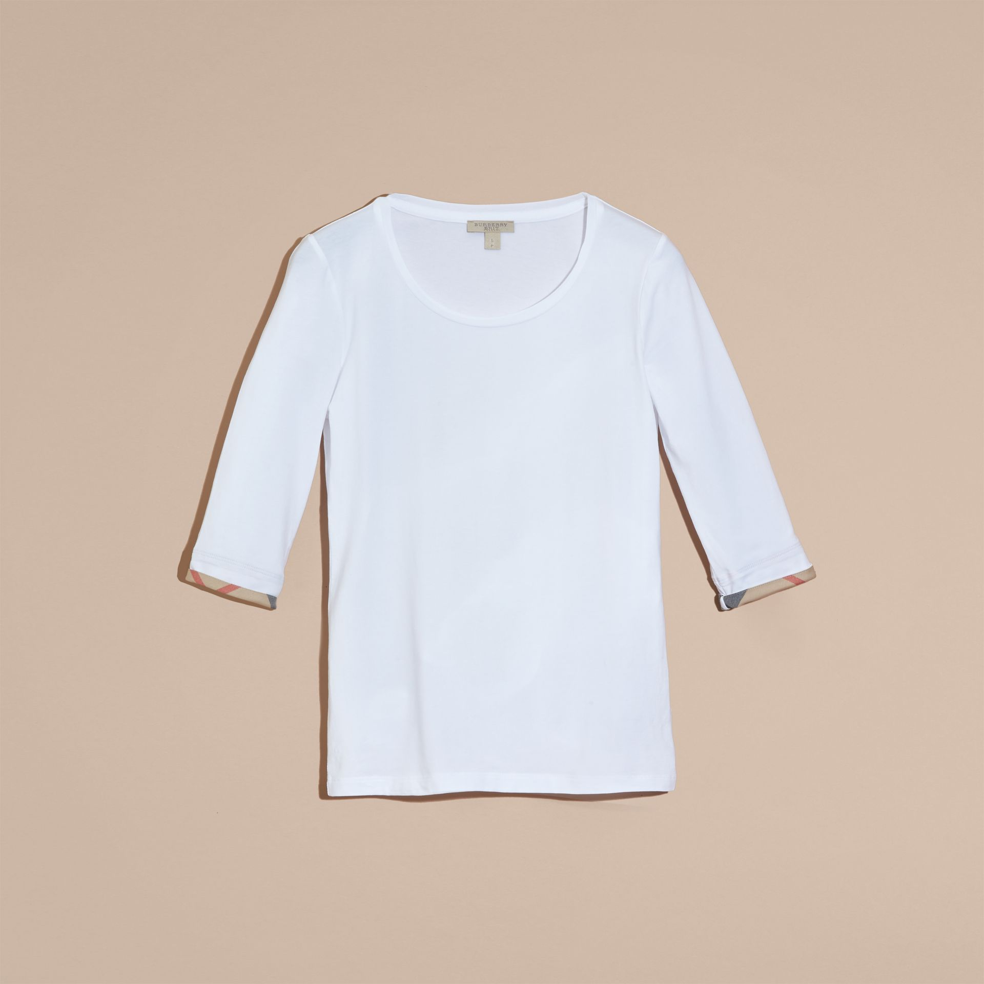 Check Cuff Stretch-Cotton Top in White - gallery image 4