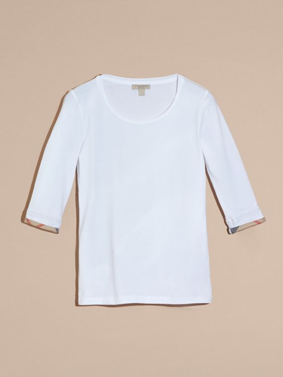 Check Cuff Stretch-Cotton Top in White - cell image 3