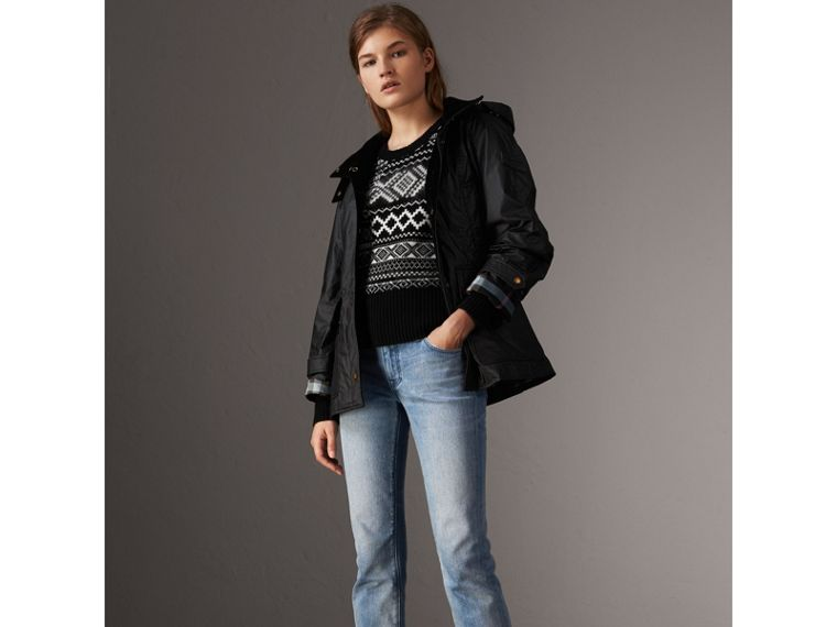 Detachable Hood Waxed Cotton Field Jacket in Black - Women | Burberry United States - cell image 4